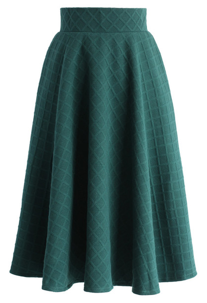 skirt embossed gingham a line skirt in green chicwish a