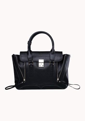 Goldie medium leather bag black