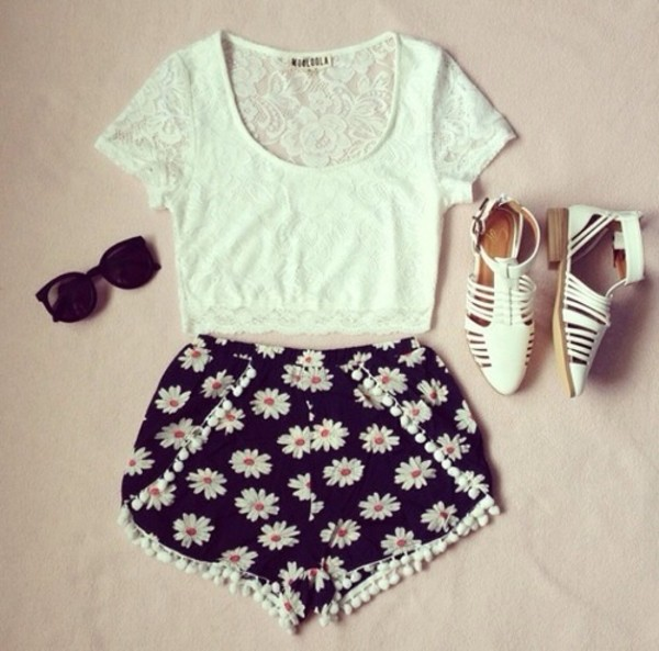 shorts flowered shorts shirt sunglasses shoes t-shirt tank top blouse top daisy pompom shorts