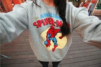 sweater spiderman sweatshirt oversized sweater crewneck