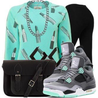 sweater purse jordan shoes leggings lipstick bag jewels shirt shoes t-shirt top