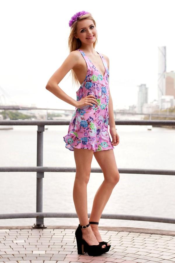 dress romper romper floral cute pink flowers shopfashionavenue floral romper