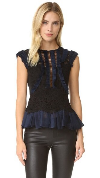 top lace top sleeveless lace navy black