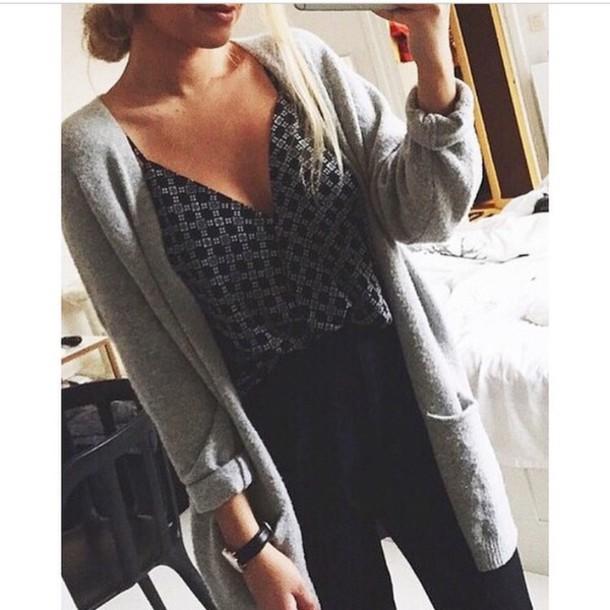 shirt black grey pattern v neck cardigan no buttons