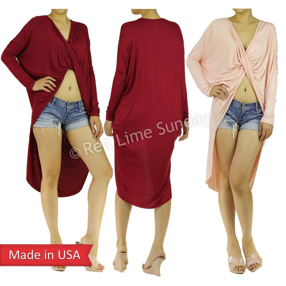 New Women Wrapped Cross Open Front Hi Lo Long Sleeve Lightweight Shirt Dress USA