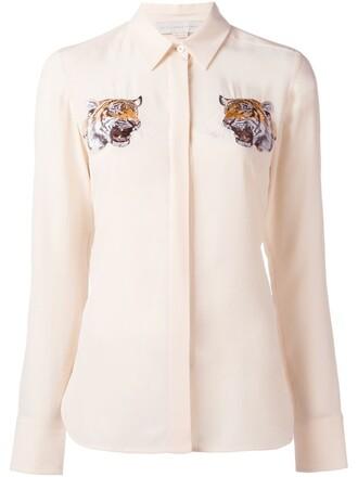 shirt embroidered women nude silk top
