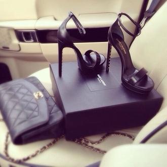 shoes elegant high heels black high heels sexy yves saint laurent