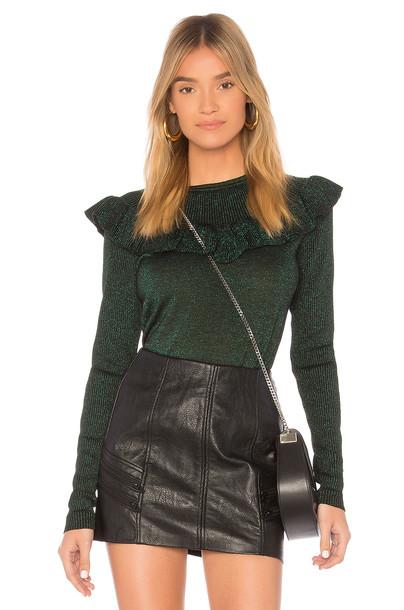 Diane Von Furstenberg pullover ruffle green sweater