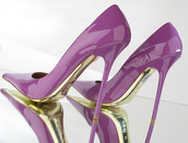 shoes,high heels,purple,gold,lack