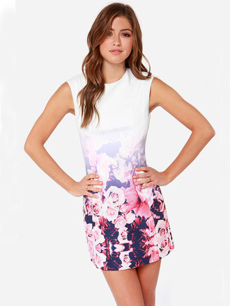 dress floral fashion cute dress beautiful girly stylish pretty flowers roses cool sleeveless party summer fashionista sexy pink black dress rose sexy dress white dress white sleek printed dress print round neck