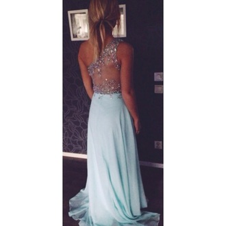 dress blue dress prom dress long dress one shoulder sequin dress