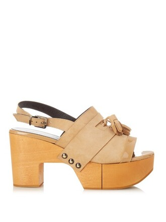 sandals platform sandals tan light shoes