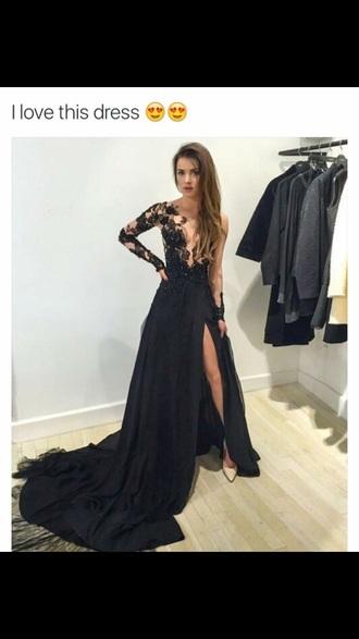 dress black dress formal dres long black dress lace backless