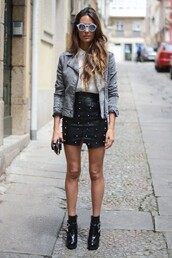 stella wants to die,skirt,shirt,sunglasses,jacket,shoes,denim jacket,rock,sexy shirt,perfecto,grey jacket,blue sunglasses,college,black leather skirt,leather skirt,black skirt,embellished skirt,spring outfits