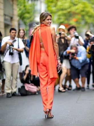 jumpsuit backless jumpsuit orange jumpsuit backless open back pumps floral shoes date outfit streetstyle