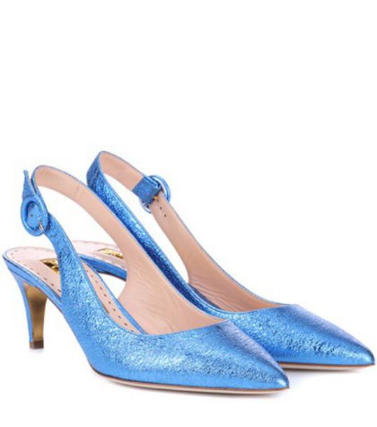 Rupert Sanderson back pumps leather blue shoes