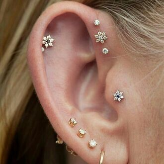flowers diamonds ear piercings helix piercing piercing triple gold earrings jewels boho hippie indie gypsy earings