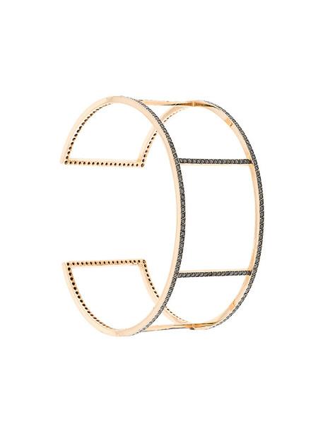 Ileana Makri cuff women gold grey metallic jewels
