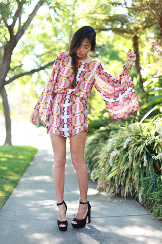 shoes black nude heels sandals pink white yellow beige dress chunky heel sandal heels multicolor multi colour kaleidoscope ankle strap long sleeves