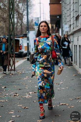dress printed dress maxi dress long dress long sleeve dress long sleeves heels streetstyle