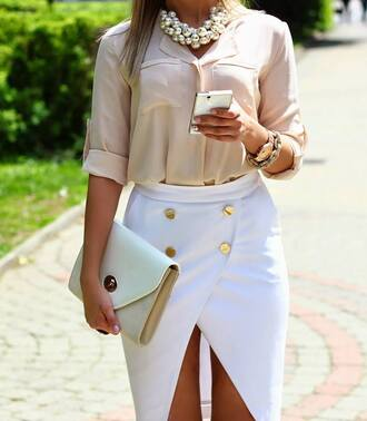 skirt blouse necklace bag jewels