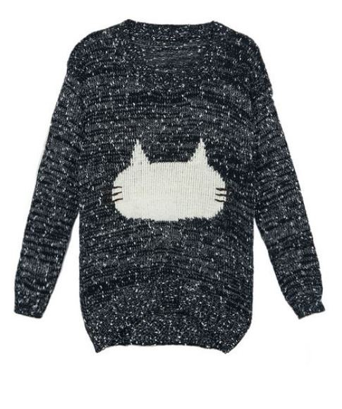 Black Jacquard Pattern Fluffy Cat Sweater