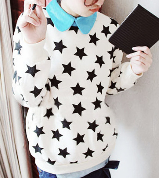 sweater stars black and white korean fashion