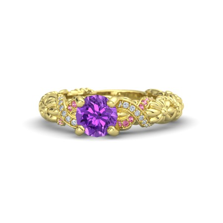 Round Amethyst 14K Yellow Gold Ring with Diamond & Pink Tourmaline | Knotted Bouquet Ring | Gemvara