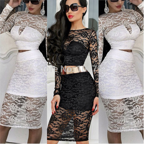 77b711f588 lace bodycon dress lace two piece set lace crop top skirt set lace bandage  dress two
