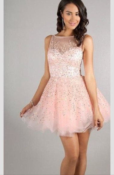 dress prom dress lace tulle pink dress pink lace dress sequins short prom dress sparkly dress glitter designer dress promgirl full skirt fluffy