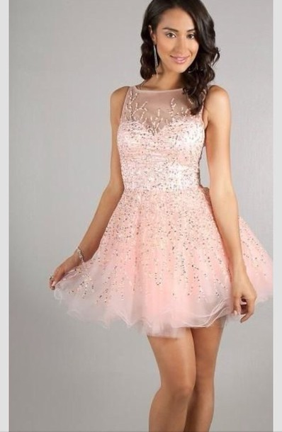 Dress: prom dress, short prom dress, pink dress, pink, sparkly ...