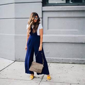 pants tumblr wide-leg pants t-shirt white t-shirt shoes yellow yellow shoes bag grey bag sunglasses blue pants