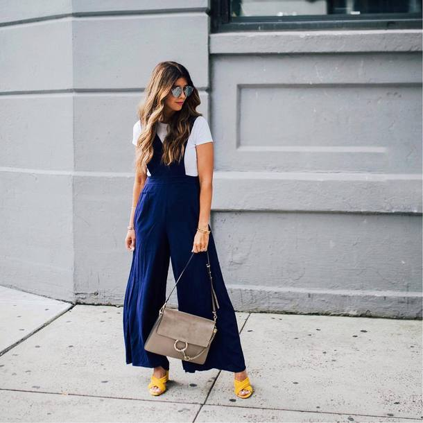 pants tumblr wide-leg pants t-shirt white t-shirt shoes yellow yellow shoes bag grey bag sunglasses blue pants