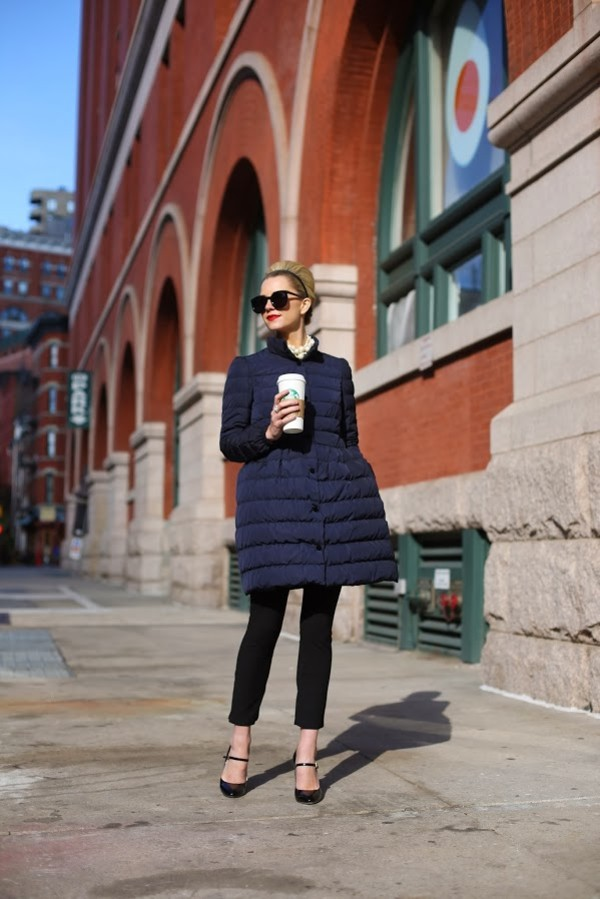 atlantic pacific jacket pants shoes sunglasses puffer jacket blue jacket black sunglasses black pants cat eye high heels black heels winter coat