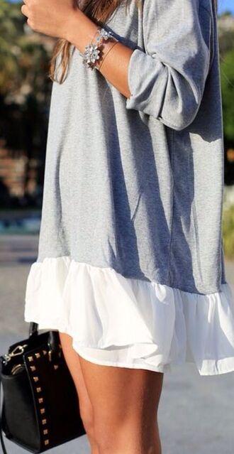 cardigan ruffle sweater dress combine aborable