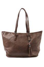 bag,tote bag,purse,shoulder bag,tassel,brown bag