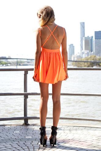 cross back dress orange orange dress skater dress skater cute shopfashionavenue