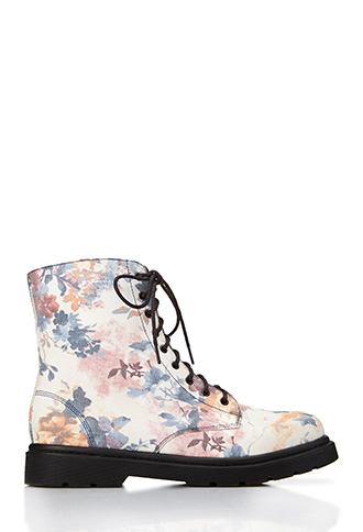 Floral Frenzy Combat Boots | FOREVER21 - 2000070720