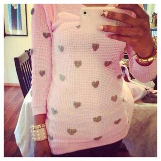 sweater heart dot polka dots sweatheart heart print heart print top women's t-shirt oversized white sweater dope swag