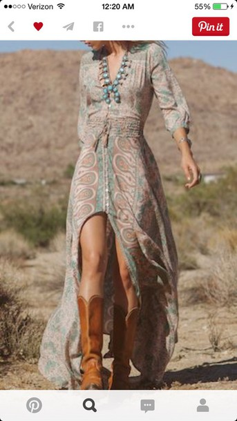 dress mynystyle maxi dress spring outfits summer dress tribal pattern casual style boho dress boots