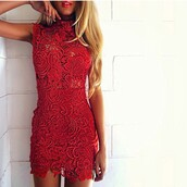 dream closet couture,free shipping,hippie,boho,cocktail dress,party dress,red lace,black lace,turtleneck