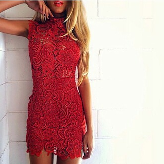 dream closet couture free shipping hippie boho cocktail dress party dress red lace black lace turtleneck