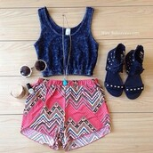 blouse,top,crop tops,shorts,glasses,shoes,jewels,tank top,tank top jeans,denim shirt