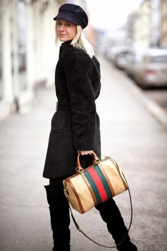 hippie hippie milkshake blogger fuzzy coat black coat handbag black boots fisherman cap