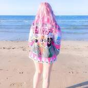 coat,pink,pastel pink,pastel,tumblr,the powerpuff girls,jacket,beach,pastel hair