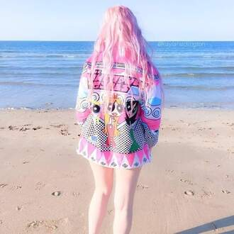 coat pink pastel pink pastel tumblr the powerpuff girls jacket beach pastel hair
