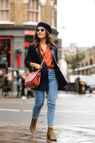 the little magpie blogger jacket shirt jeans bag shoes beret red bag crossbody bag ankle boots red shirt blazer blue jacket