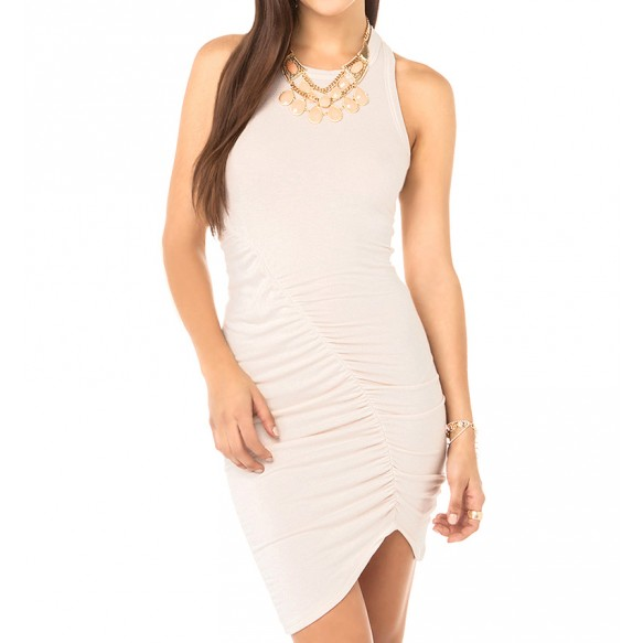Racer Bodycon Dress With Ruching Detail And Asymmetric Hem at Style Moi