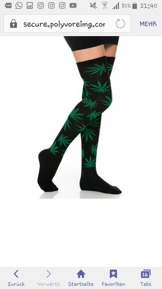 socks weed weed socks knee high socks high socks long socks huf socks overknee socks overknees tights cool drugs green black high trippy