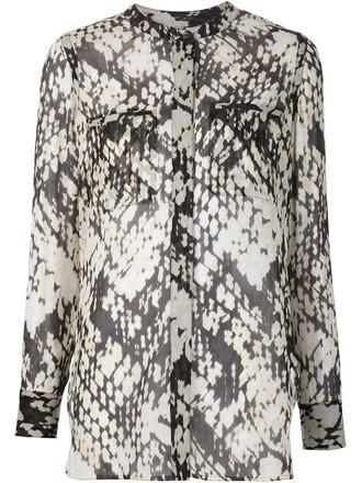 blouse women weave print black silk top